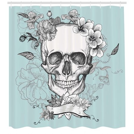 Grunge Shower Curtain, Skull and Flowers Day of the Dead Mexican Traditional Celebration Symbolic Art, Fabric Bathroom Set with Hooks, Turquoise White, by Ambesonne