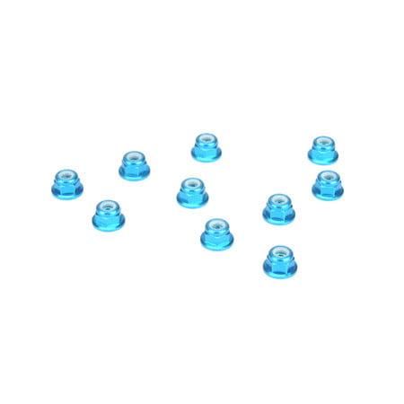 (3mm Aluminum Flanged Lock Nut, Blue (10))