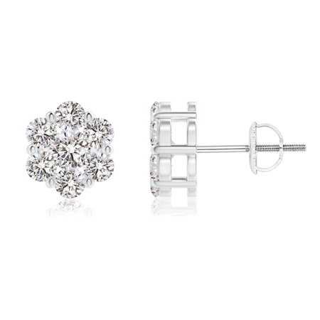 April Birthstone - Pressure-Set Diamond Cluster Stud Earrings in 14K White Gold (3mm Diamond) - SE1365D-WG-IJI1I2-3