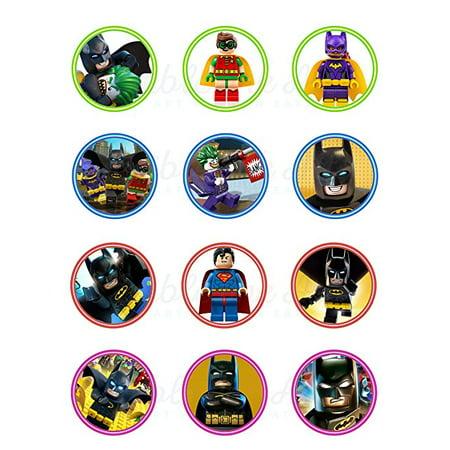 Lego Batman Edible Cupcake Toppers (12 Images) Cake Image Icing Sugar Sheet Edible Cake Images Edible Images for Cupcakes - Batman Icing