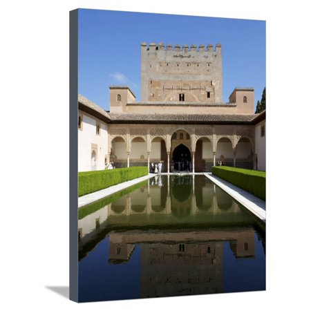 Patio De Los Arrayanes and Comares Tower, Alhambra Palace, Granada, Andalucia, Spain Stretched Canvas Print Wall Art By Jeremy Lightfoot ()