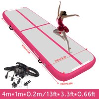 Fbsport 20cm Thick Pink 4m*1m*0.2m Inflatable Air Track Tumbling Gymnastic Mat Floor Home Training