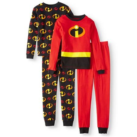 The Incredibles Boys' Cotton 4-Piece Pajama Sleep Set