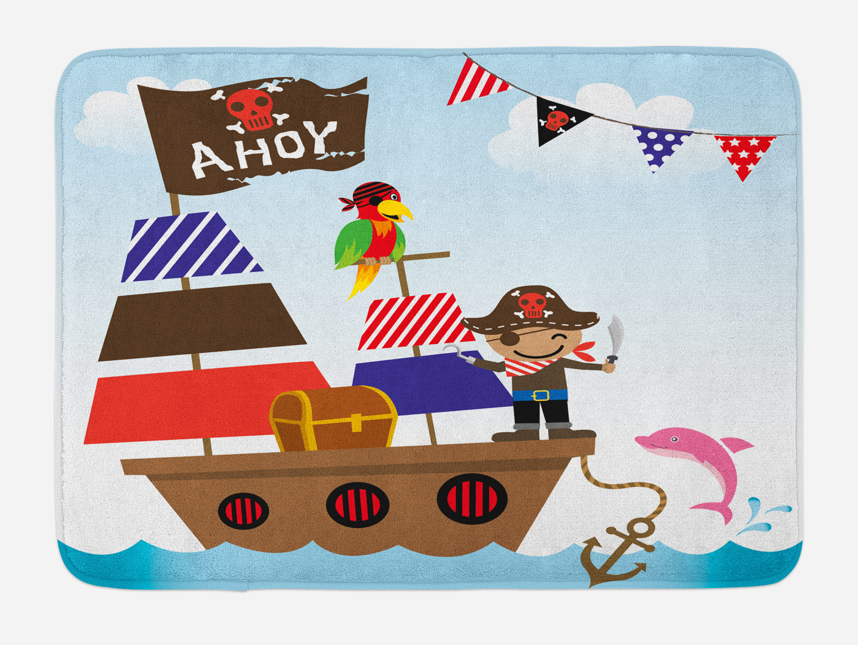 Ahoy Its a Boy Bath Mat, Cute Pirate Kids Treasure Chest with Ship on Ocean Background... by 3decor llc