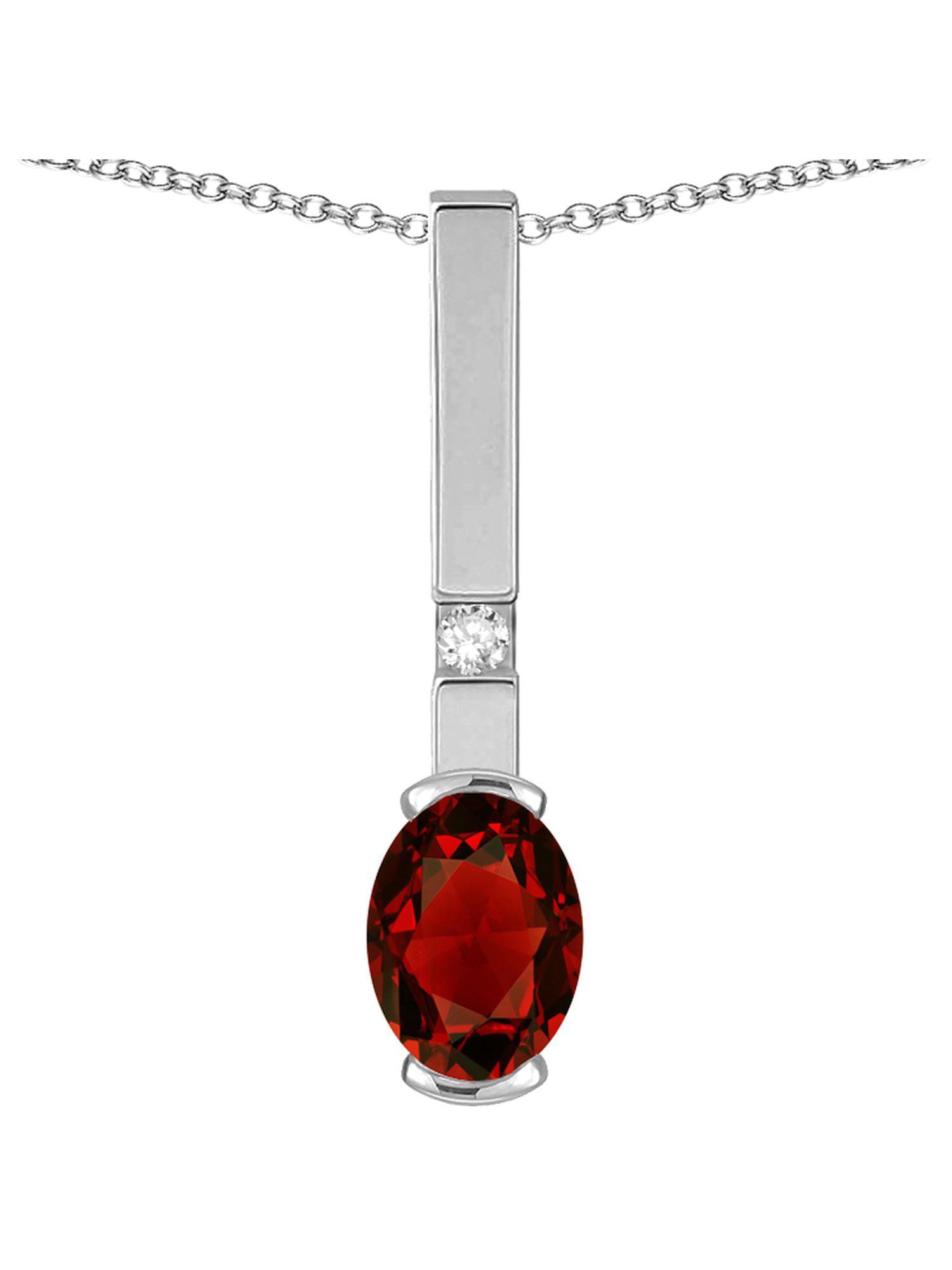 Star K Oval 8x6mm Genuine Garnet Bar Pendant Necklace by Star K