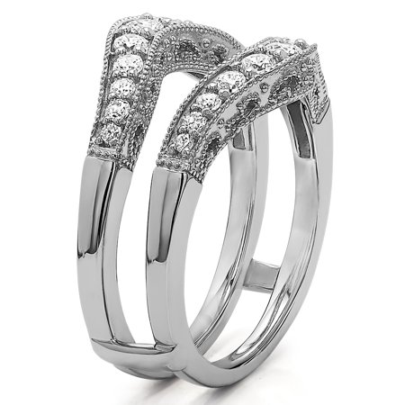5fdf62df5abd0 Vintage Style Filigree and Milgraining Contour Ring Guard in Sterling  Silver (0.75ctw)