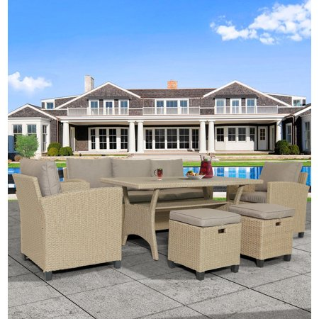 Modular Outdoor Sectional Patio Conversation Set, SEGMART 6 Piece Rattan Sofa Furniture with 2 Ottoman, Resistant PE Wicker Family Dining Set w/Removable Cushions for Backyards, Gardens, 330lbs, S2196