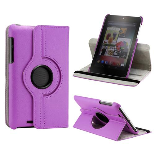 Purple 360 Degree Rotating PU Leather Case Cover Swivel Stand for Google Nexus 7 Asus Tablet