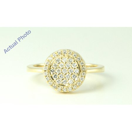 14k Yellow Gold Round Diamond Victorian style scroll sided bezel anniversary ring(0.37ct, F,