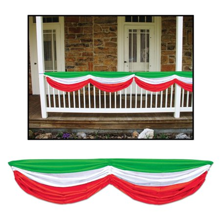 Pack of 6 Green, White and Red Italian Festival Fabric Bunting Hanging Decorations - Italian Festival Decorations