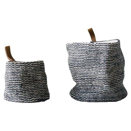 3R Studios Jute Wall Baskets in Black Stripes with Leather Loop - Set of 2 ()