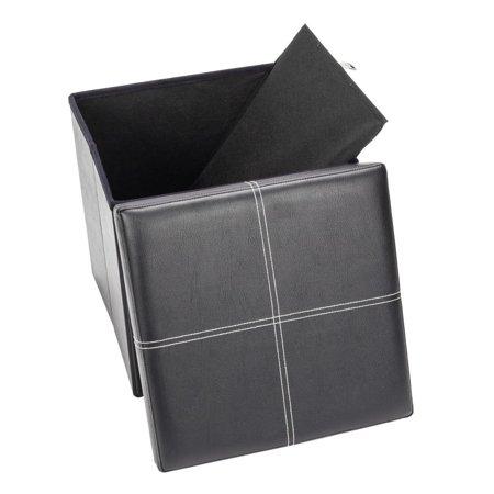 Storage Bench Seating - Ktaxon Folding Leather Footstool Sofa Ottoman Bench Footrest Box Faux Seat Storage
