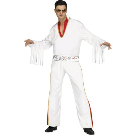 Vegas Rocker White Fringed Elvis Adult Male Halloween - Halloween Rocker