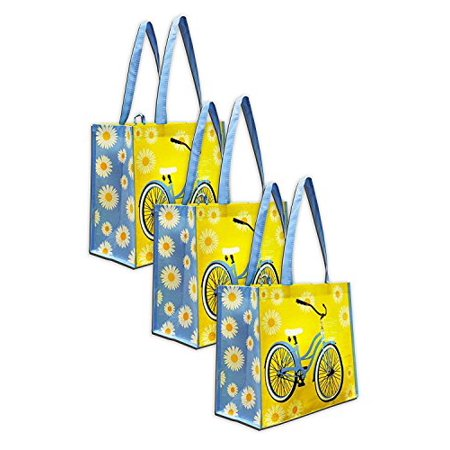 Earthwise Reusable Grocery Bag Shopping Summer Beach Tote w/Bicycle Print (3 Pack) - Floral Print Beach Bag