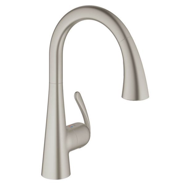 Grohe Ladylux Single Handle Pull Out Swivel Kitchen Faucet W Super Steel Infinity Finish Walmart Com Walmart Com