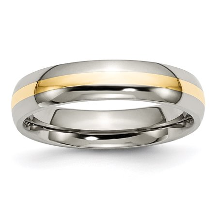 Titanium 14k Yellow Inlay 5mm Wedding Ring Band Size 8.50 Precious Metal Fine Jewelry For Women Gifts For Her - image 10 of 10