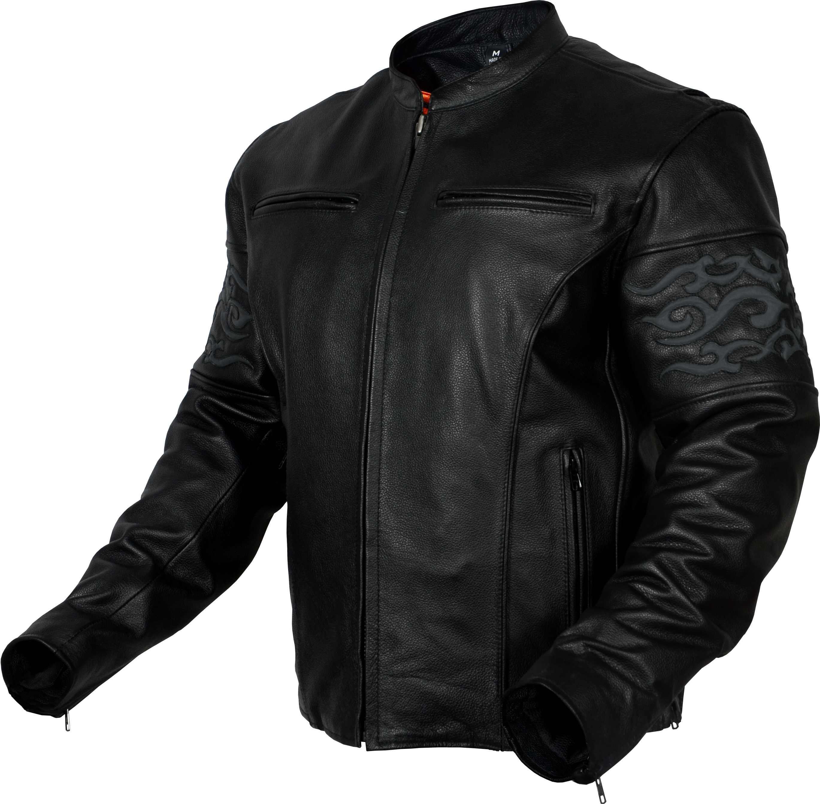 Mens Leather Reflective Tribal Band Motorcycle Jacket