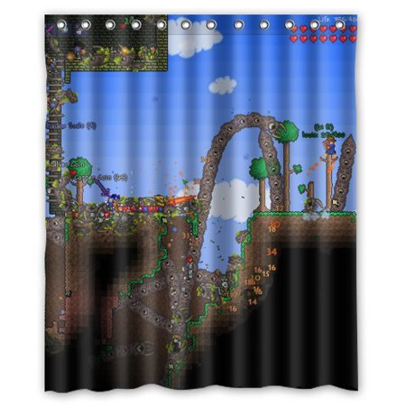 GreenDecor Terraria Waterproof Shower Curtain Set with Hooks Bathroom Accessories Size 60x72 inches - Terraria Best Accessories