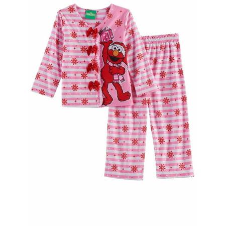 toddler girls pink white elmo christmas pajamas sesame street holiday sleep set walmartcom - Toddler Christmas Pajamas