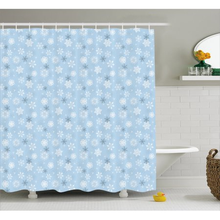 Snowflake Shower Curtain Snowflakes Of Cold Weathers Christmas Holiday Themed Illustration Fabric Bathroom Set