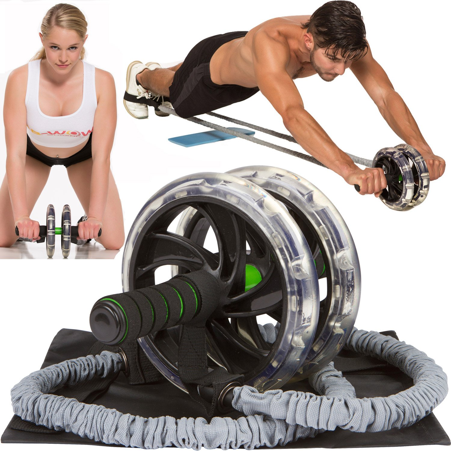 Ab Roller Abdominal Workout Wheel AB WOW Abs Trainer Abdominal Exercise Equipment with Bonuses, Supports up to 500 lbs by Company 19 LLC