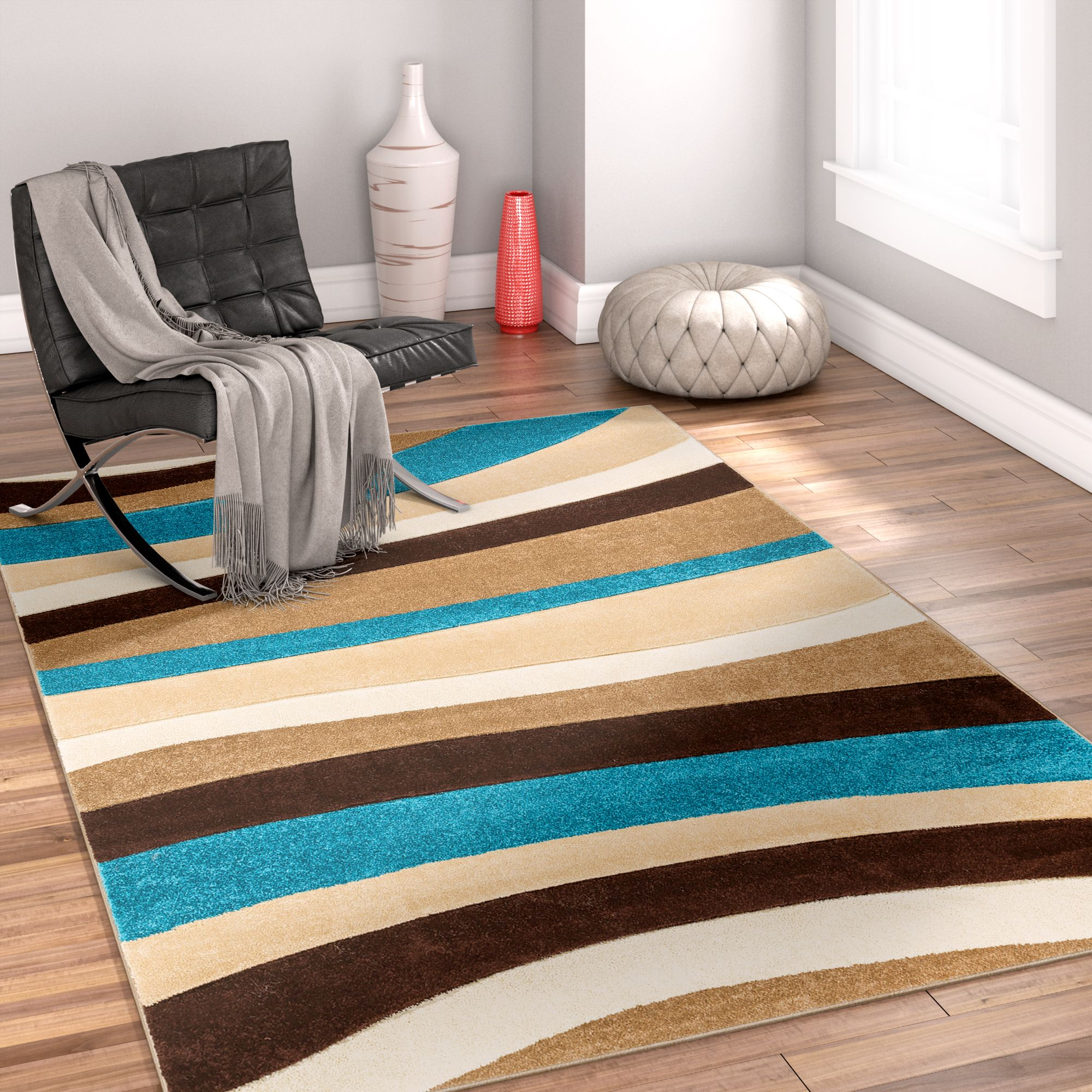 Well Woven Ruby Rad Waves Modern Blue Area Rug