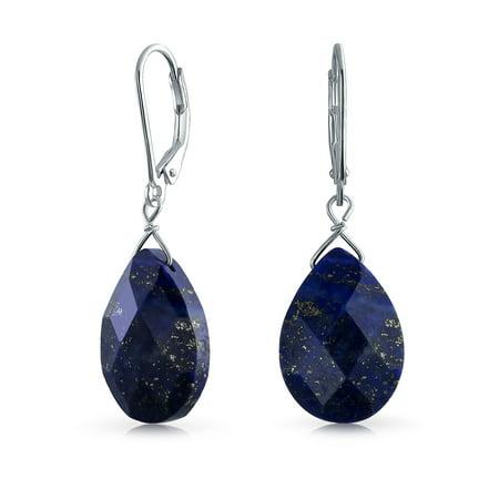 Gemstone Blue Lapis Lazuli Faceted Teardrop Pear Shaped Drop Dangle Leverback Earrings For Women 925 Sterling Silver