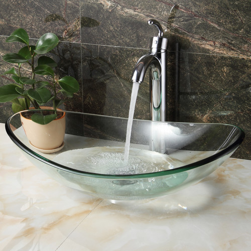 Elite Tempered Glass Oval Vessel Bathroom Sink