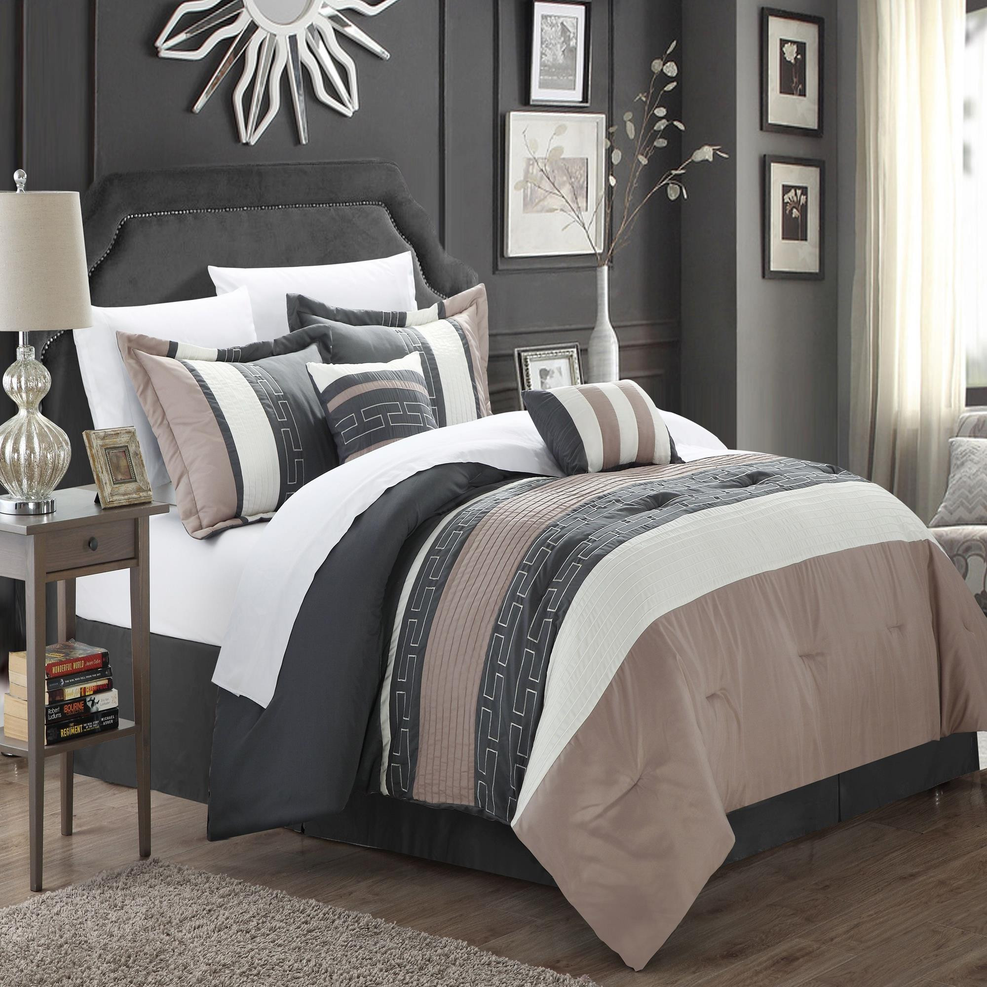 Carlton Taupe, Grey & Tan 10 Piece Comforter Bed In A Bag Set