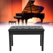 LYUMO Double Piano Stool, PU Leather Padded Seat Duet Double Concert Piano Bench Chair Storage Stool Black