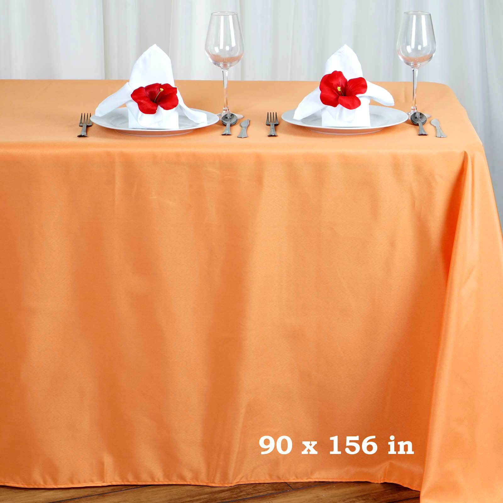 """BalsaCircle 90"""" x 156"""" Polyester Rectangular Tablecloth with Rounded Corners for Party Wedding Reception Dining Home Table Linens"""