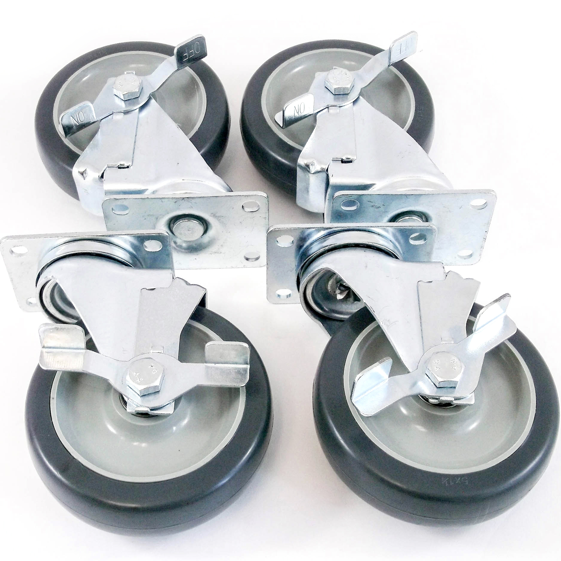 "4 Pack 5"" Swivel Caster Wheels Rubber Base with Top Plate & Double Bearing All Brake"