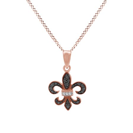 Black & White Natural Diamond Fleur De Lis Pendant Necklace 14k Rose Gold Over Sterling