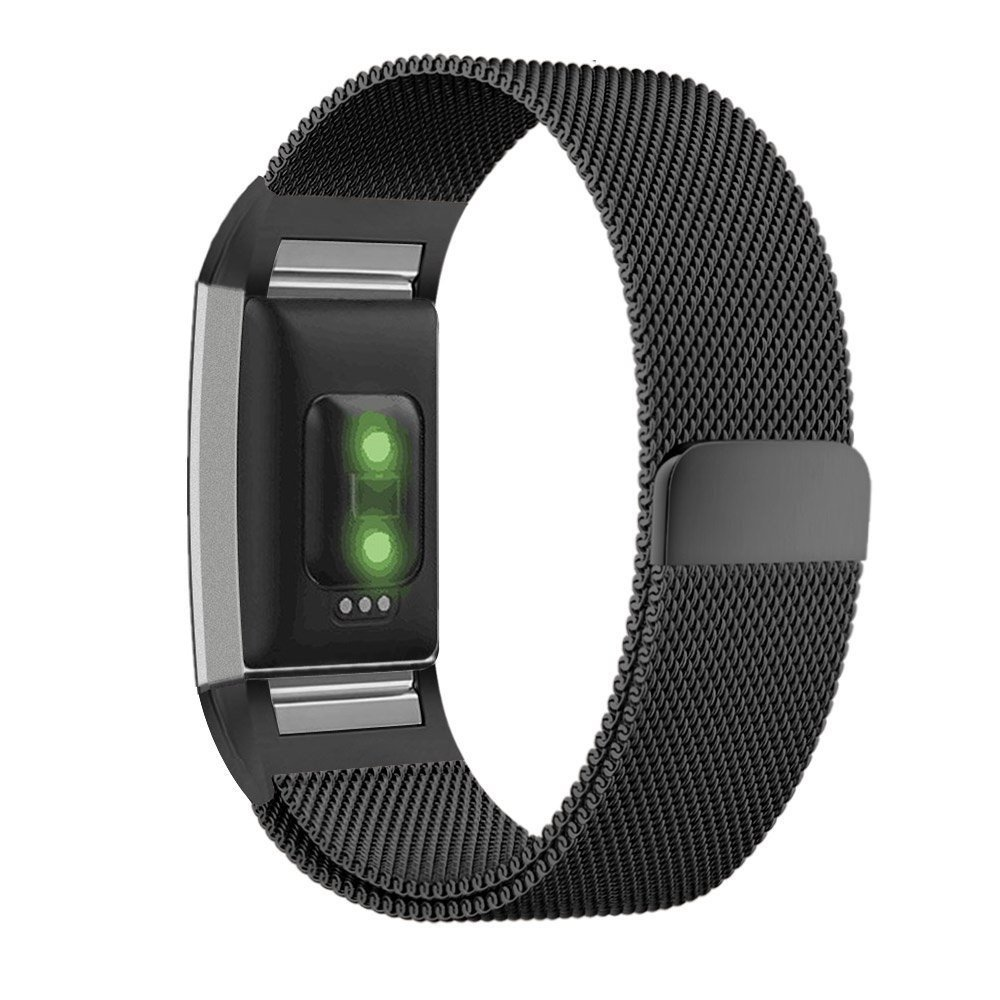 Moretek Milanese Loop Stainless Steel Metal Bracelet Strap with Unique Magnet Lock, No Buckle Needed for Fitbit Charge 2 HR Fitness Tracker