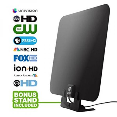 HDTV Antenna by WatchFree HDTV- Amplified Super Thin High Definition TV  Antenna - 50 Mile Range with Signal Amplifier for Best Reception - 11 ft  Coax