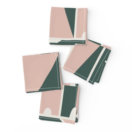 Cocktail Napkins Geometric Building Blocks Modern Shapes Abstract House Set of 4 ()