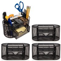 Simply Genius (4 Pack) Office Supplies Computer Desk Organizer With Drawers Office Desk Accessories Pens Pencil Holder Black