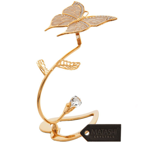 Matashi Crystal Decorative 24K Gold Plated Crystal Studded Butterfly On A Flower Stem Ornament