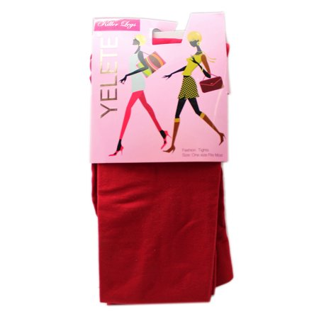 Yelete Killer Legs Red Colored Fashion Tights (One Size)