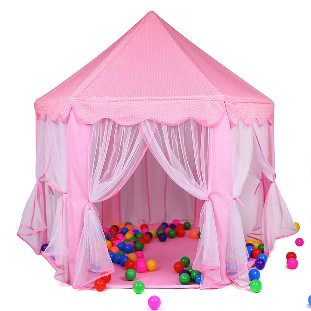 Princess Castle Play Tent House For Girls Indoor Outdoor Toy 56 x 54 inches Pink
