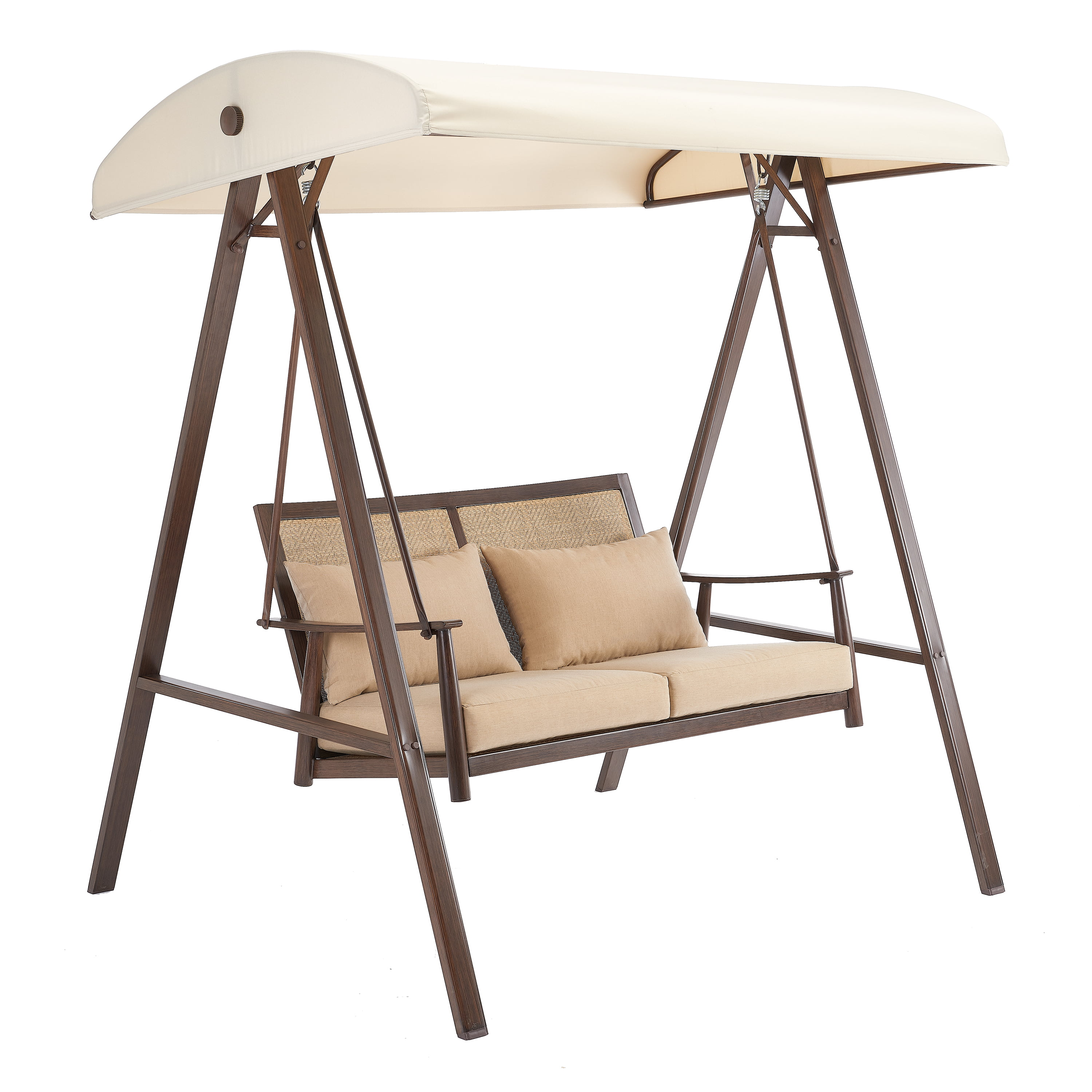 Better Homes Gardens Vaughn Canopy Patio Swing With Beige Cushions