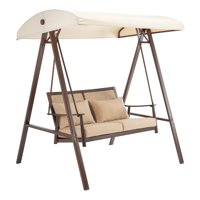 Better Homes & Gardens Vaughn Canopy Patio Swing with Beige Cushions