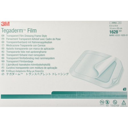 "3M 1628 Tegaderm Dressing Transparent 6"" X 8"" - Box of 10"