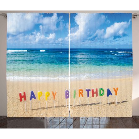 Birthday Curtains 2 Panels Set, Happy Birthday Sign on the Tropical Beach in Hawaii Exotic Sweet Surprise Theme, Window Drapes for Living Room Bedroom, 108W X 63L Inches, Multicolor, by Ambesonne - Hawaiian Themed Bedrooms