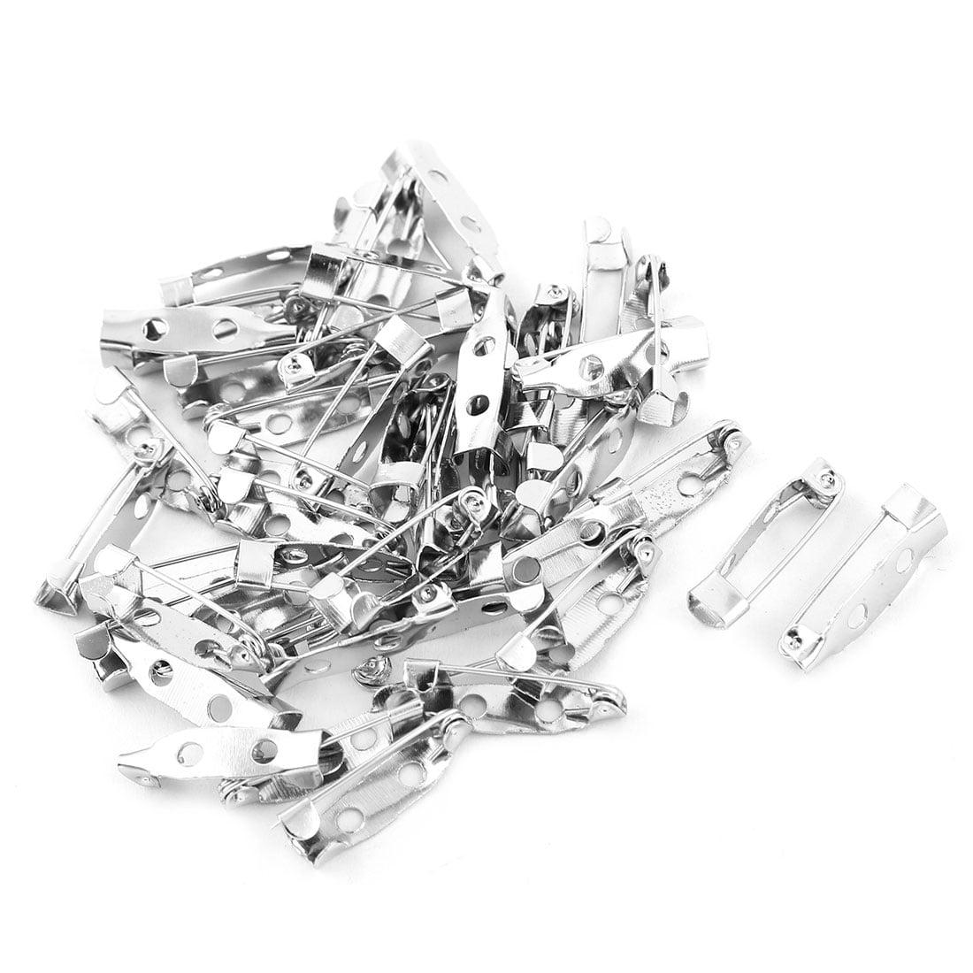 Metal Safety Pin Back Brooch Finding DIY Base Silver Tone 2cm Length 40pcs