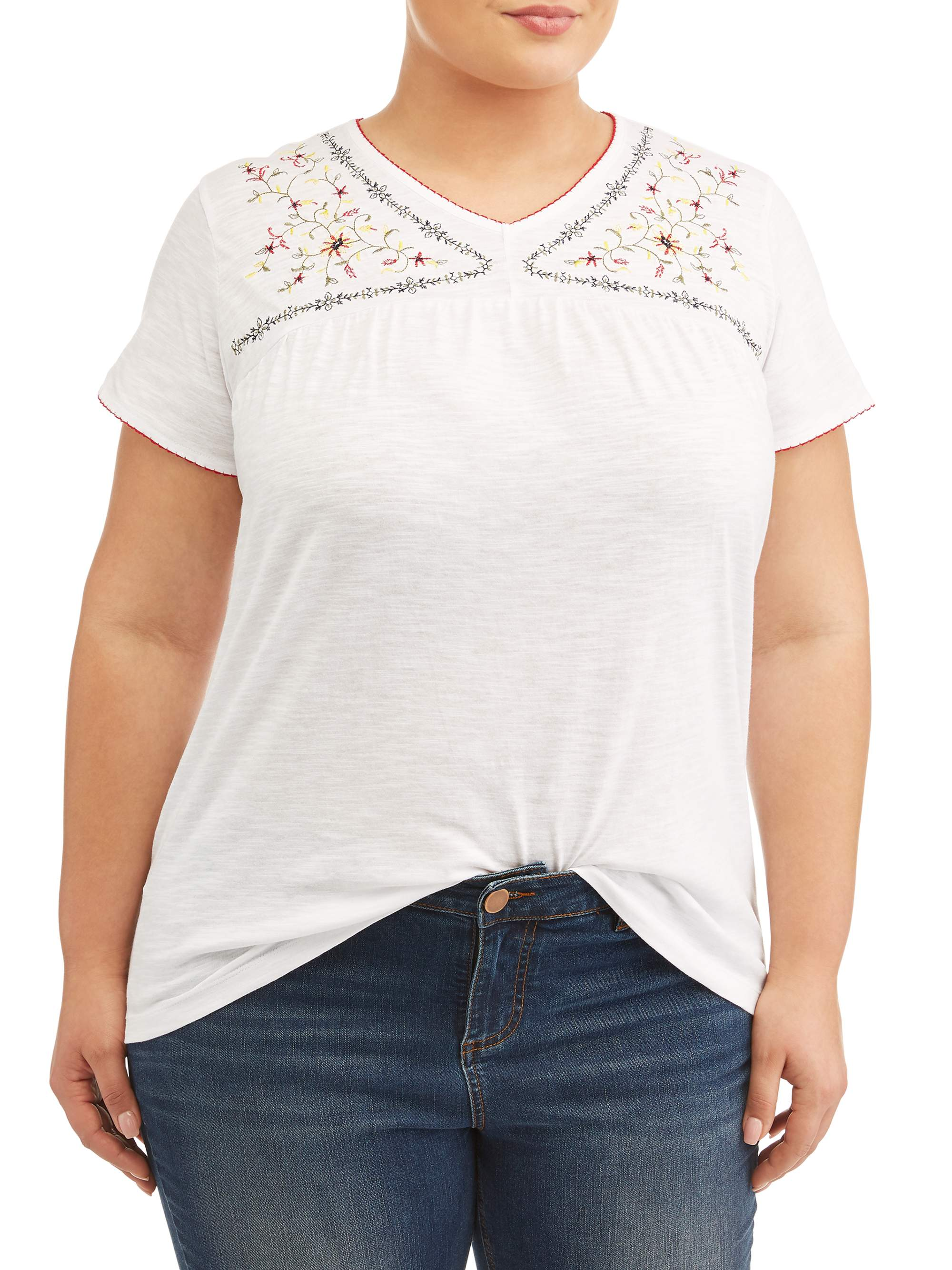 Women's Plus Size Embroided V Neck Top