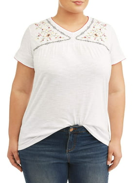c0e619e79df4e Product Image Women s Plus Size Embroided V Neck Top