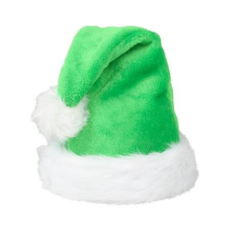 Christmas Green Plush Faux Fur Trim Santa Hat Costume Accessory (Green Christmas Hat)