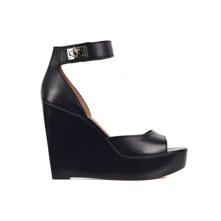 8b6d905b63c6 Givenchy - Givenchy Womens Black Leather Shark Lock Platform Wedge Sandals  - Walmart.com