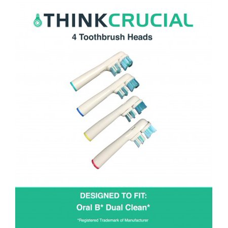 4 Oral-B Dual Clean Electric Toothbrush Head Replacements, Part # SB-417A
